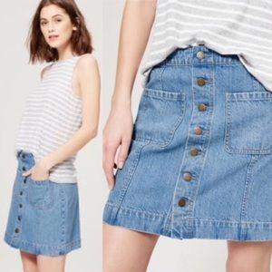 Ann Taylor Loft Blue Denim Button Down Skirt